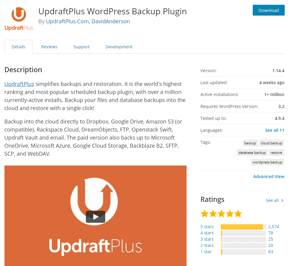 updraft plus plugin to backup your WordPress website or blog