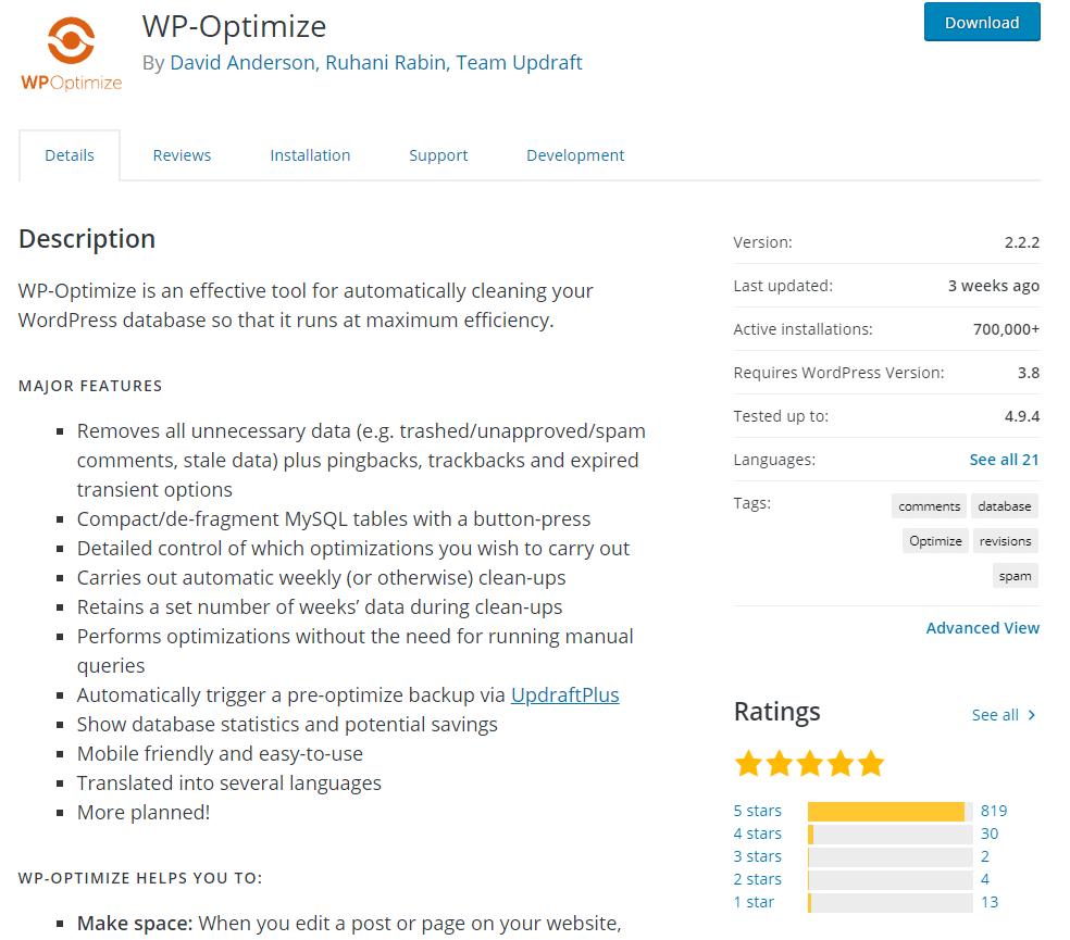 WP Optimize wordpress plugin to clean up old files on your wordpress website or blog