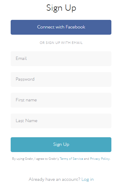 Sign up for your free Grabr account and get $10