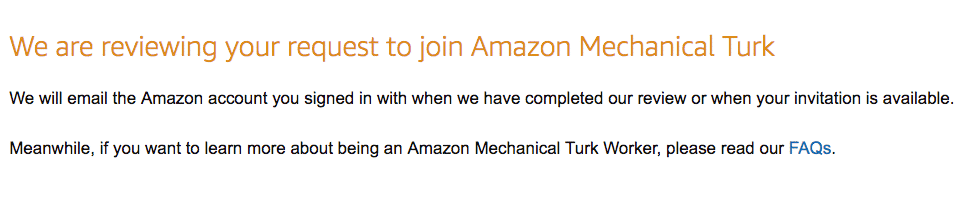 Waiting for approval for Amazon Mechanical Turk Account