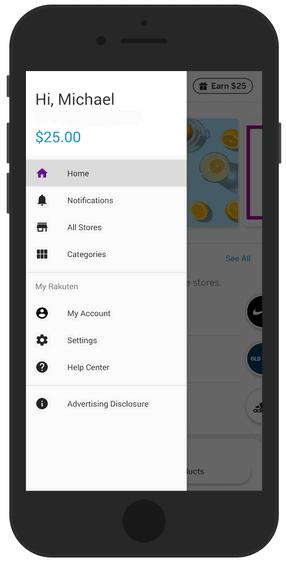 Rakuten App Menu Options