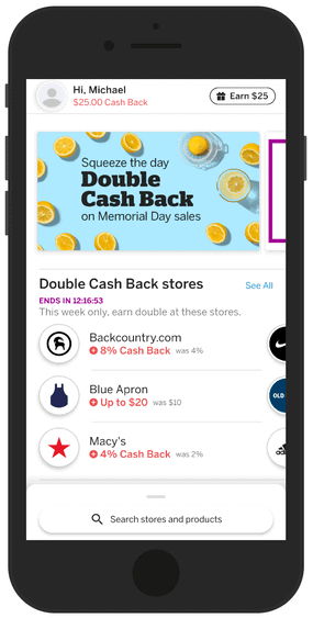 Rakuten App Home Screen