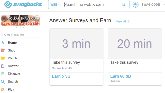Swagbucks homepage where you can see all the different money making categories