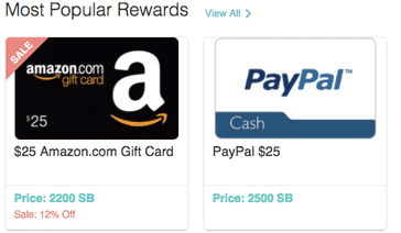 Get gift cards like an Amazon gift card or get paid in PayPal cash