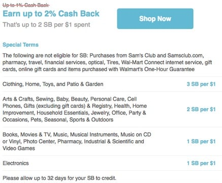 Swagbucks shop store details when clicked on store