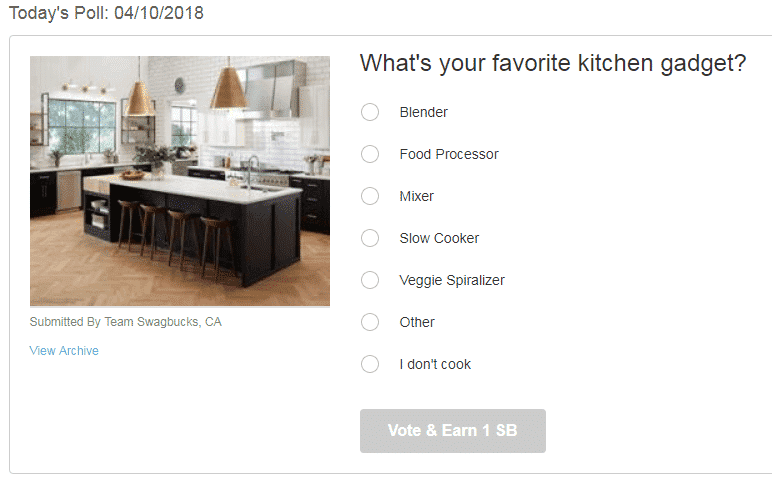 example of daily poll question to make money with swagbucks