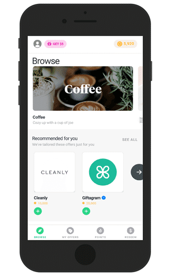 Drop app homepage with different brands