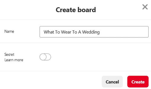 Create a board on Pinterest