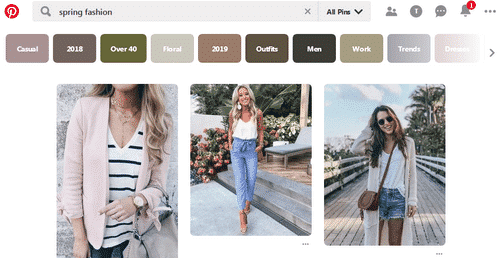 Using the Pinterest search feature