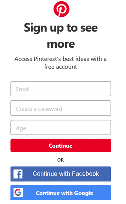 Sign up to your Pinterest account to make money on Pinterest without a blog