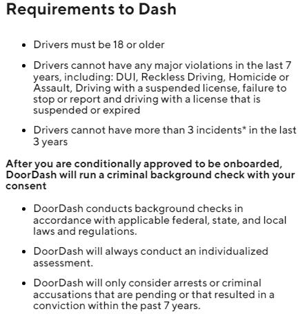 Doordash Requirements to drive