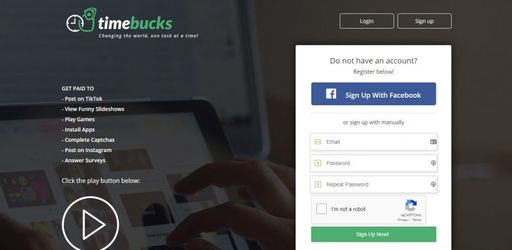 Timebucks Sign Up Page